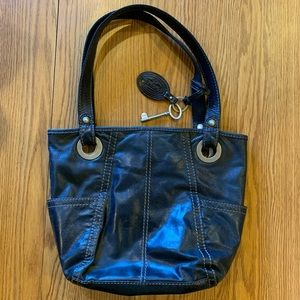Fossil Live Vintage Satchel Handbag Black Leather